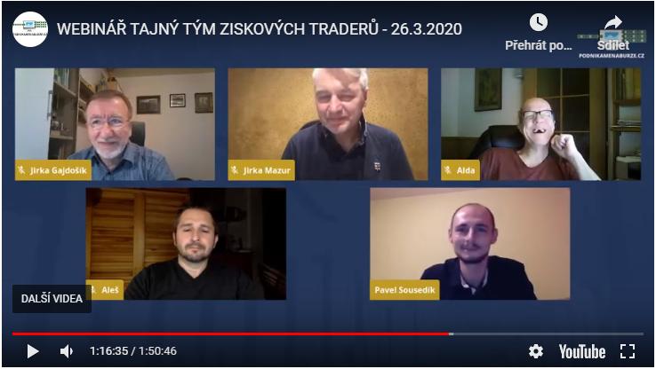 Online webináře ve čtvrtek 26. března: TAJNÝ TÝM ZISKOVÝCH TRADERŮ. Jak se změní váš trading, když máte podporu komunity?